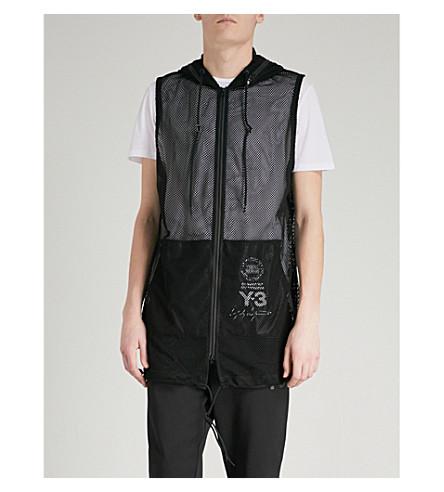 Y3 Y3 longline mesh vest jacket (Black