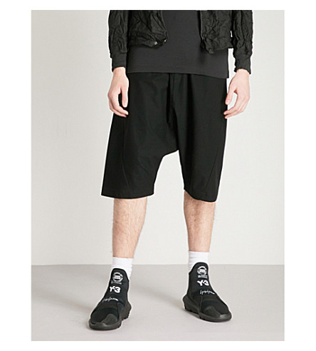Y3 Dropped-crotch cotton-twill shorts (Black