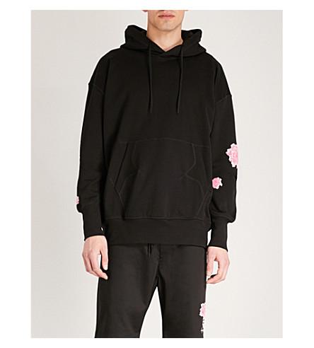 algodón jersey Negro y floral Sudadera con capucha Y3 de con estampado wXHC1