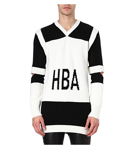 HOOD BY AIR Corgi hockey jumper (White/black