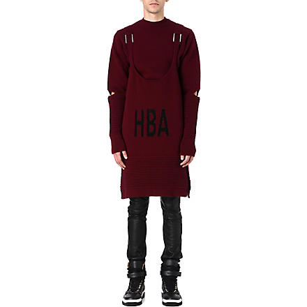 HOOD BY AIR Corgi ripple sweatshirt with vest (Maroon