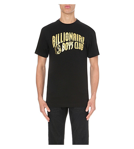 BILLIONAIRE BOYS CLUB Logo-print cotton-jersey t-shirt (Black+gold