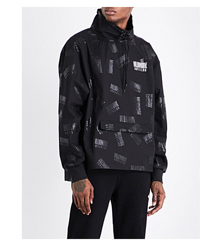 BILLIONAIRE BOYS CLUB Repeat logo-print hooded shell jacket (Black