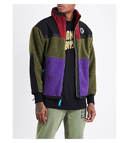 BILLIONAIRE BOYS CLUB Contrast-panel fleeced jacket (Green+purple+red