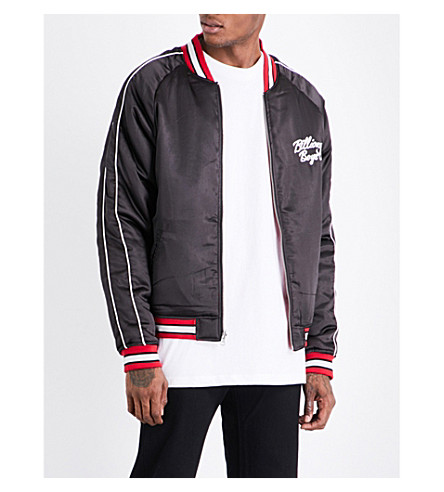 BILLIONAIRE BOYS CLUB Reversible embroidered satin bomber jacket (Black+red