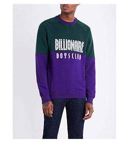 BILLIONAIRE BOYS CLUB Logo-print cotton sweatshirt (Green+purple