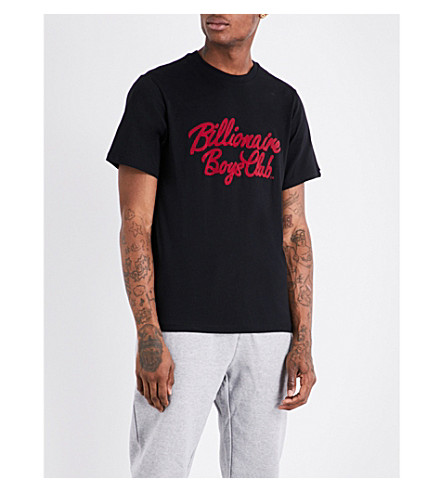 BILLIONAIRE BOYS CLUB Logo-embroidered cotton T-shirt (Black