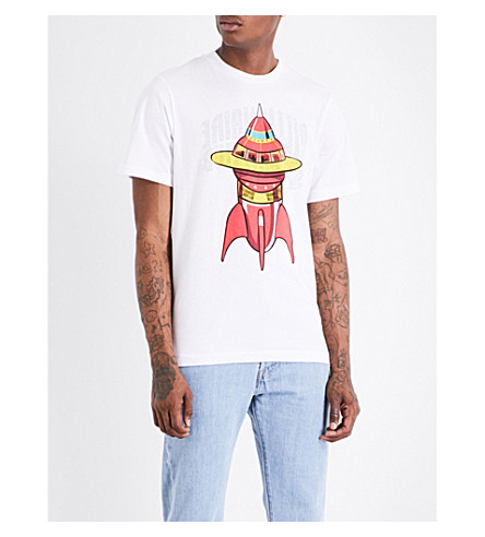 BILLIONAIRE BOYS CLUB Spaceship-print cotton T-shirt (White