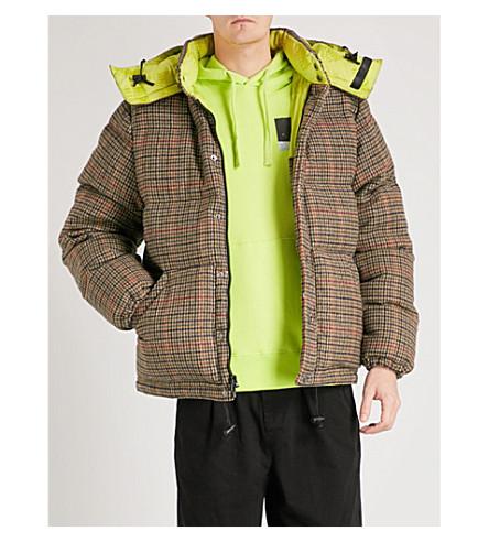 BILLIONAIRE BOYS CLUB Checked wool blend down puffer jacket (Brown check