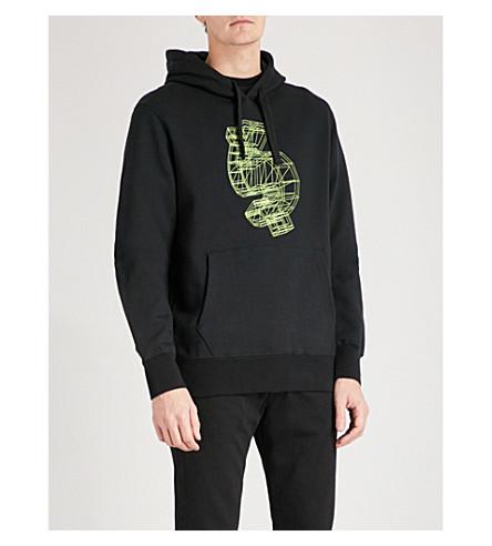 BILLIONAIRE BOYS CLUB Glow in the dark-print cotton-jersey hoody (Black