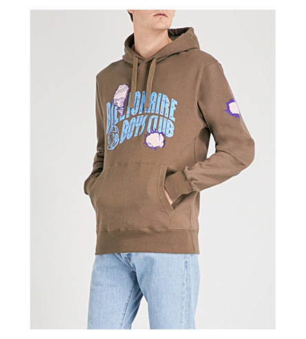 BILLIONAIRE BOYS CLUB Damaged logo cotton-jersey hoody (Taupe
