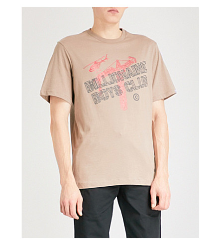 BILLIONAIRE BOYS CLUB Construction printed cotton T-shirt (Tan