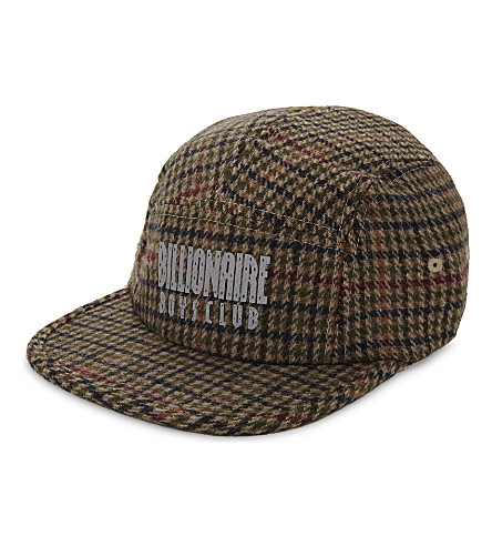 BILLIONAIRE BOYS CLUB Check wool five-panel cap (Brown check