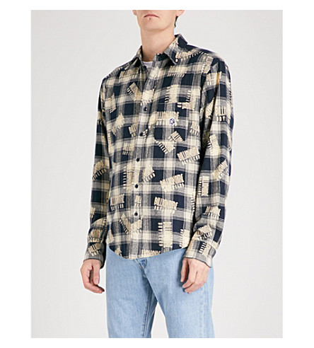 BILLIONAIRE BOYS CLUB Logo-print checked regular-fit cotton-flannel shirt (Check