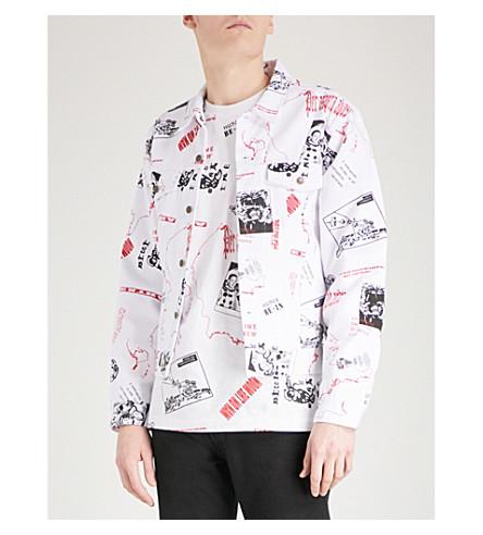 BILLIONAIRE BOYS CLUB Headline-print denim trucker jacket (White