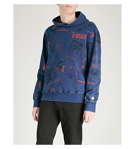 BILLIONAIRE BOYS CLUB Headline-print cotton-jersey hoody (Indigo