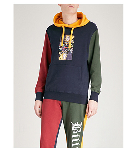 BILLIONAIRE BOYS CLUB Omega-patch cotton-jersey hoody (Navy+multi