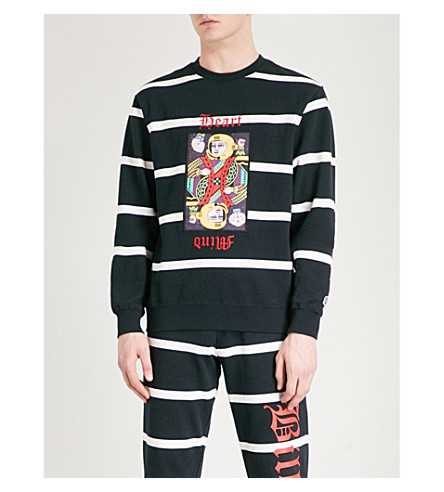 BILLIONAIRE BOYS CLUB Omega-patch striped cotton-jersey sweatshirt (Black