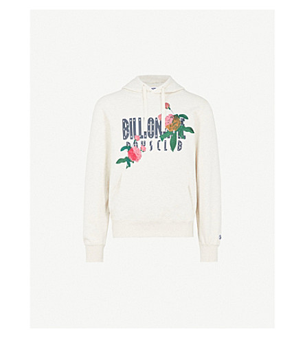 BILLIONAIRE BOYS CLUB Floral-embroidered cotton-jersey hoody (Oat marl