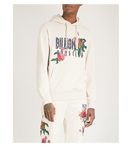 BILLIONAIRE BOYS CLUB Floral-embroidered cotton-jersey hoody (Oat+marl