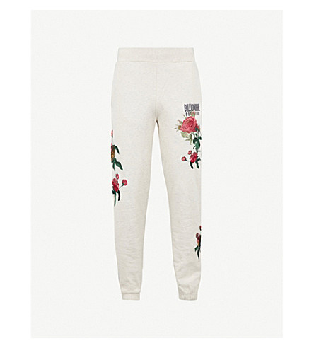 BILLIONAIRE BOYS CLUB Floral-embroidered cotton-jersey jogging bottoms (Oat marl