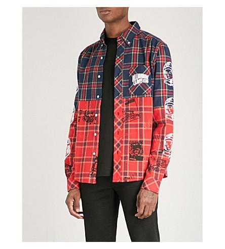 BILLIONAIRE BOYS CLUB Headline-print cotton-flannel shirt (Navy check