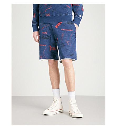 BILLIONAIRE BOYS CLUB Headline-print cotton-jersey shorts (Indigo