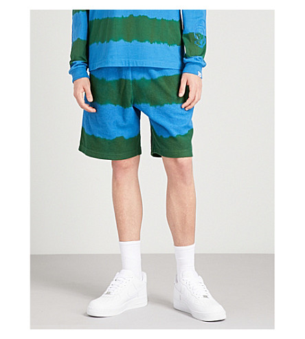 BILLIONAIRE BOYS CLUB Striped relaxed-fit cotton-terrycloth shorts (Green
