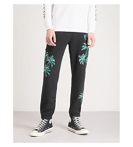 BILLIONAIRE BOYS CLUB Palm-embroidered cotton-jersey jogging bottoms (Black