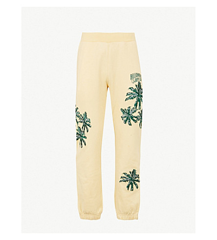 BILLIONAIRE BOYS CLUB Palm-embroidered cotton-jersey jogging bottoms (Lemon