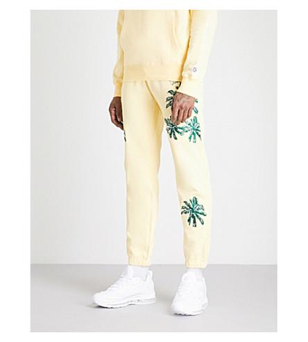BILLIONAIRE BOYS CLUB Palm-embroidered cotton-jersey jogging bottoms (Lemon
