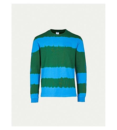BILLIONAIRE BOYS CLUB Striped bleached cotton-jersey top (Green