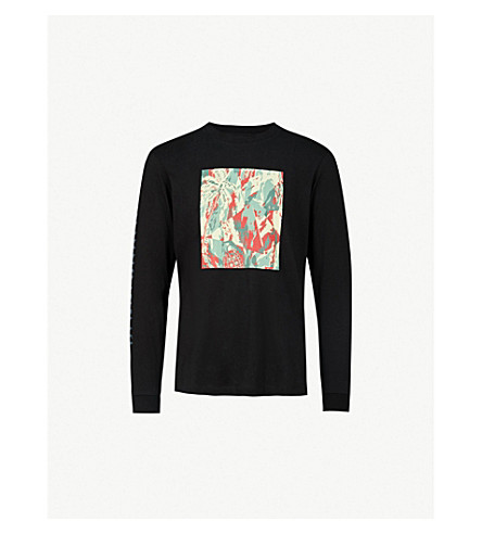 BILLIONAIRE BOYS CLUB Lizard-print cotton-jersey top (Black