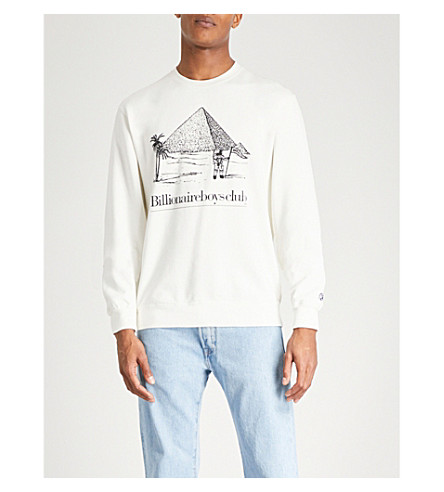 BILLIONAIRE BOYS CLUB Pyramid-print cotton-jersey sweatshirt (White