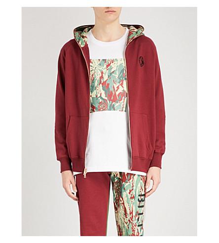 BILLIONAIRE BOYS CLUB Lizard camouflage-print cotton-jersey hoody (Burgundy