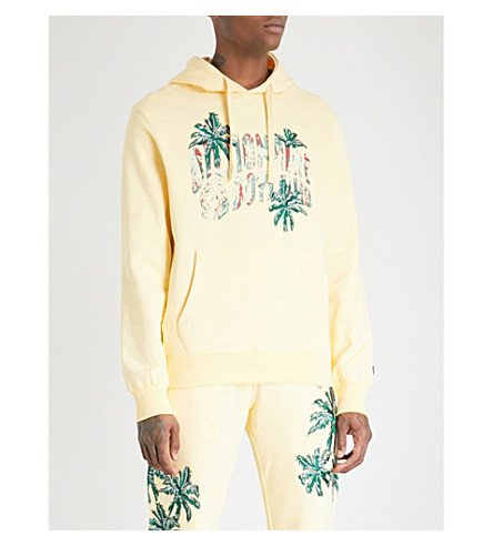 BILLIONAIRE BOYS CLUB Palm-embroidered cotton-jersey hoody (Lemon