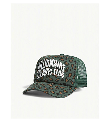 BILLIONAIRE BOYS CLUB Logo leopard-print trucker snapback cap (Green