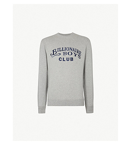 BILLIONAIRE BOYS CLUB Logo-embroidered cotton-jersey sweatshirt (Heather grey