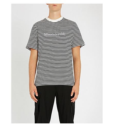 BILLIONAIRE BOYS CLUB Logo-embroidered striped cotton-jersey T-shirt (White