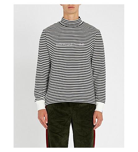 BILLIONAIRE BOYS CLUB Striped cotton-jersey sweatshirt (White