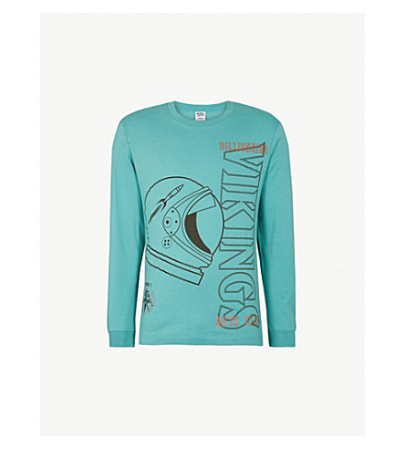 BILLIONAIRE BOYS CLUB Point of No Return long-sleeved cotton-jersey top (Teal