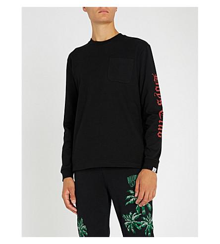 BILLIONAIRE BOYS CLUB Gothic-logo long-sleeved cotton-jersey top (Black