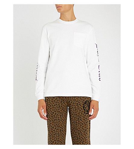 BILLIONAIRE BOYS CLUB Gothic-logo long-sleeved cotton-jersey top (White