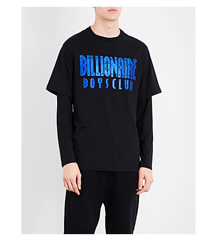 BILLIONAIRE BOYS CLUB Glitter logo cotton-jersey T-shirt (Black