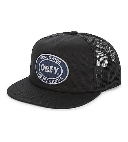 OBEY Worldwide Propaganda snapback trucker cap (Black
