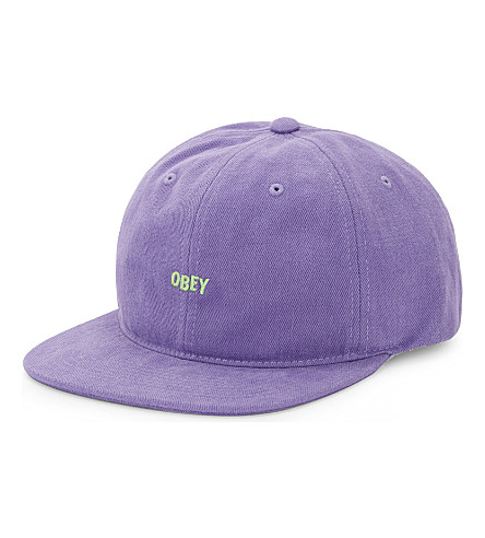 OBEY New Deal embroidered cotton snapback cap (Purple