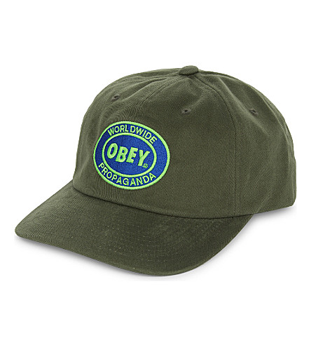 OBEY Vision six panel cotton snapback cap (Army