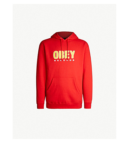 OBEY Logo-print cotton-blend hoody (Red