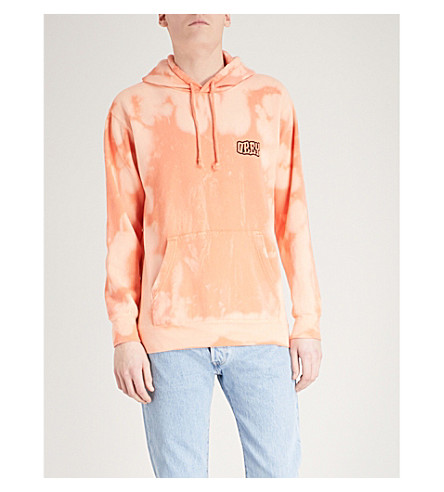 OBEY Tie-dye printed cotton-blend hoody (Orange