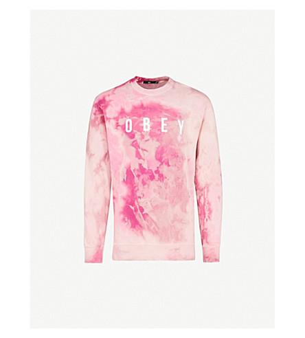 OBEY Tie-dye logo-print cotton-blend sweatshirt (Magenta